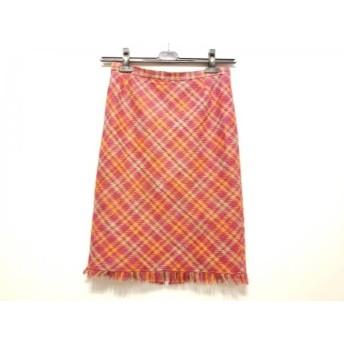 【中古】 ダーマコレクション スカート レディース ピンク オレンジ ライトグレー チェック柄