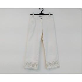 【中古】 ギャラリービスコンティ GALLERYVISCONTI パンツ サイズ2 M レディース 白 リボン/7分丈