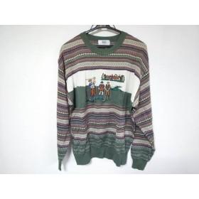 【中古】 マンシングウェア 長袖セーター サイズL メンズ ダークグリーン アイボリー マルチ