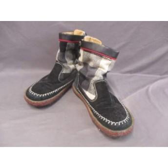 【中古】 インディアン Indian ショートブーツ レディース 黒 アイボリー マルチ ウール