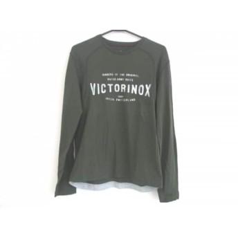 【中古】 ヴィクトリノックス VICTORINOX 長袖Tシャツ サイズS メンズ 美品 カーキ 白