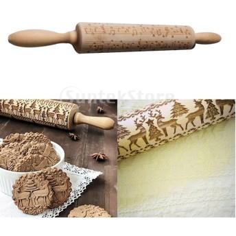 彫刻めん棒 木製 麺棒 エンボス 木製ローリングピン 焼くツール DIY ビスケット 多仕様選べ - ミュージカルノート