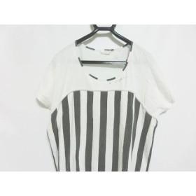 【中古】 ネネット Ne-net チュニック サイズ2 M レディース 白 黒 ストライプ/刺繍