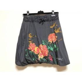 【中古】 デシグアル Desigual バルーンスカート サイズM レディース ダークグレー レッド マルチ