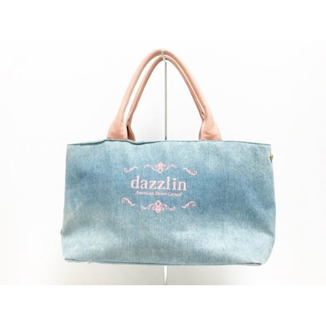 【中古】 ダズリン DAZZLIN ハンドバッグ ライトブルー ピンク ダメージ加工 合皮