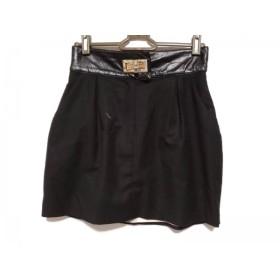 【中古】 エリザベッタフランキ ELISABETTA FRANCHI スカート サイズ40 M レディース 黒 ゴールド