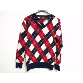 【中古】 バーバリーブラックレーベル 長袖セーター サイズ2 M メンズ レッド ネイビー 白 アーガイル