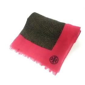 【中古】 トリーバーチ TORY BURCH ストール(ショール) 黒 ブラウン ピンク 豹柄 ウール