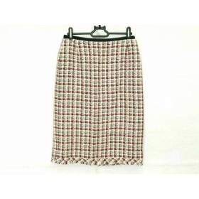 【中古】 ユキトリイ YUKITORII スカート サイズ9 M レディース アイボリー 黒 レッド ツイード