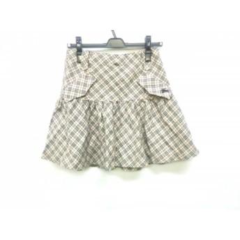 【中古】 バーバリーブルーレーベル スカート サイズ38 M レディース ベージュ 黒 ボルドー チェック柄