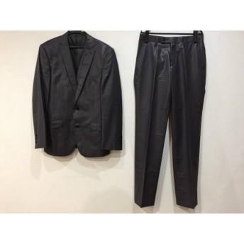 【中古】 ハイストリート HIGH STREET シングルスーツ サイズL メンズ ダークグレー 黒 白