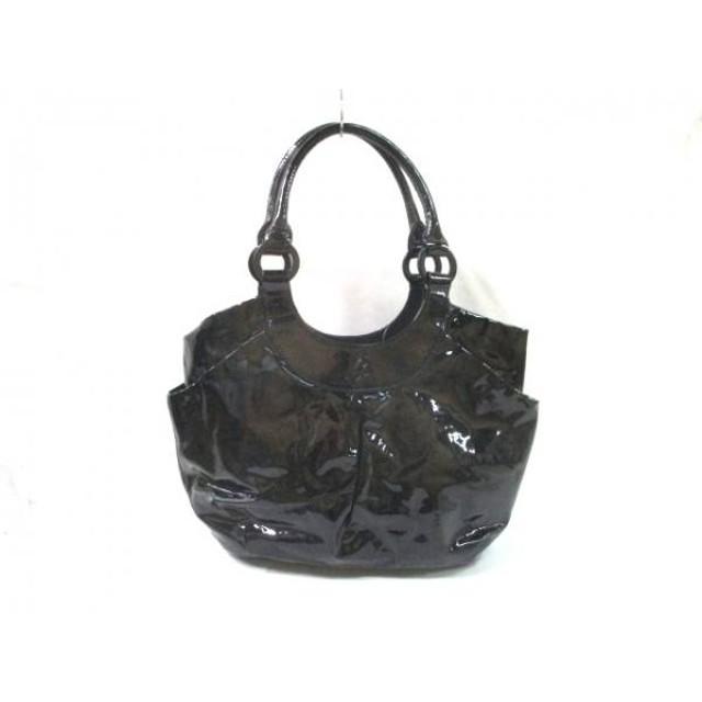 【中古】 アニエスベー agnes b トートバッグ 美品 黒 PVC(塩化ビニール)