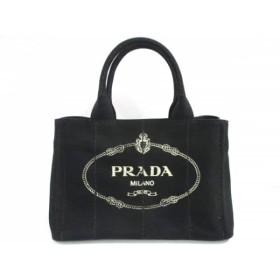 【中古】 プラダ PRADA トートバッグ 新品同様 CANAPA 1BG439 黒 キャンバス