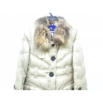 【中古】 バーバリーブルーレーベル ダウンコート サイズ40 M レディース 美品 ベージュ ファー/冬物