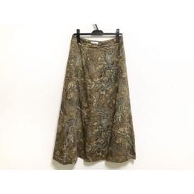 【中古】 スキャパ Scapa ロングスカート サイズ40 XL レディース ブラウン マルチ