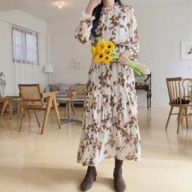 シフォンワンピース マキシ丈 Aライン 花柄 フレア ロングワンピース マキシ丈 長袖 可愛い キレイめ 人気