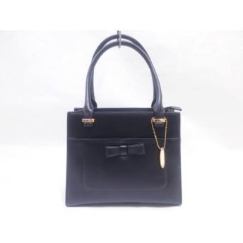 【中古】 エムズグレイシー M'S GRACY ハンドバッグ 黒 リボン/型押し加工 レザー
