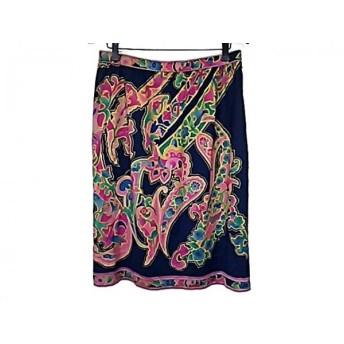 【中古】 レオナール LEONARD スカート サイズ66 レディース ネイビー マルチ 花柄