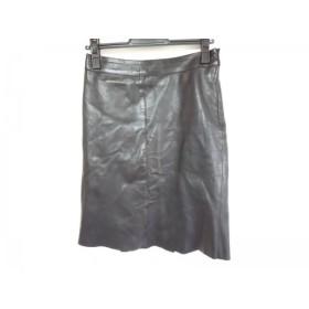 【中古】 プラダ PRADA スカート サイズ38 S レディース 黒 レザー
