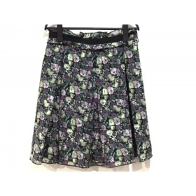 【中古】 アナスイ ANNA SUI スカート サイズ4 S レディース 黒 パープル マルチ 花柄