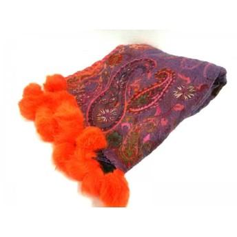 【中古】 フルラ FURLA ストール(ショール) パープル オレンジ マルチ ウール 化学繊維