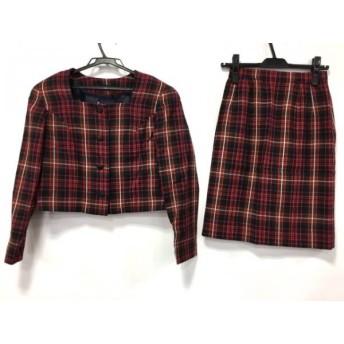 【中古】 ヨークランド YORKLAND スカートスーツ サイズ9ar S レディース レッド 黒 白 チェック柄