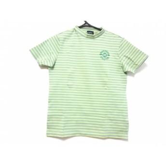 【中古】 パーリーゲイツ 半袖セーター サイズ1 S レディース 美品 グリーン グレー ハイネック/ボーダー
