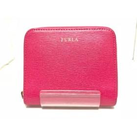 【中古】 フルラ FURLA 2つ折り財布 ピンク ラウンドファスナー レザー