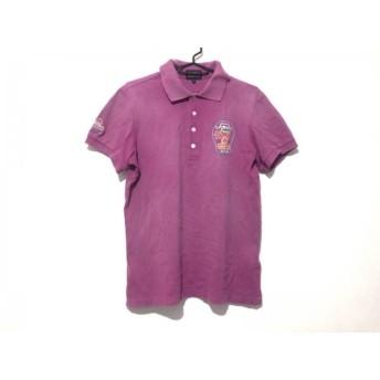【中古】 パーリーゲイツ PEARLY GATES 半袖ポロシャツ サイズ4 XL メンズ パープル マルチ 刺繍/花柄