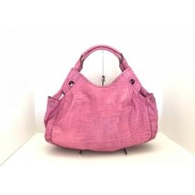 【中古】 サザビー SAZABY ハンドバッグ ピンク 型押し加工 レザー