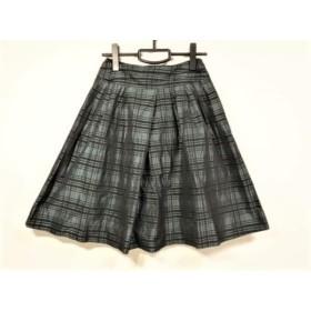 【中古】 エストネーション スカート サイズ36 S レディース 美品 ダークグリーン 黒 bis/チェック柄