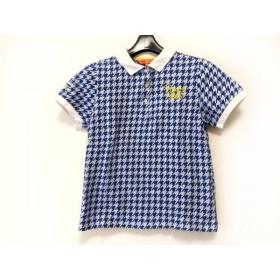 【中古】 ビームス BEAMS 半袖ポロシャツ サイズM レディース 美品 ブルー 白 イエロー 千鳥格子/GOLF