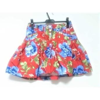 【中古】 パーリーゲイツ スカート サイズ0 XS レディース 美品 レッド ライトブルー マルチ 花柄