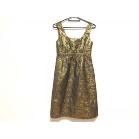 【中古】 ダナキャラン DKNY ワンピース サイズ4 XL レディース 美品 ダークブラウン ゴールド 花柄