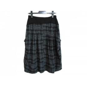 【中古】 ティービー/センソユニコ t.b スカート サイズ38 M レディース 黒 グレー チェック柄