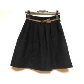 【中古】 アプワイザーリッシェ スカート サイズ1 S レディース ダークネイビー ダークブラウン リボン