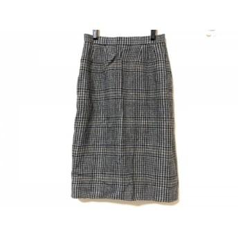 【中古】 バーバリーズ スカート サイズ7 S レディース グレー 黒 ブラウン チェック柄/千鳥格子