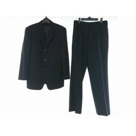 【中古】 ムッシュニコル シングルスーツ サイズ48 XL メンズ 黒 ライトグレー 3点セット