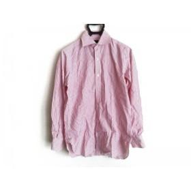 【中古】 フランコプリンツィバァリー 長袖シャツ サイズ39 メンズ 美品 白 レッド ストライプ