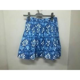 【中古】 バナナリパブリック ミニスカート サイズ6 M レディース ネイビー ブルー 白 花柄