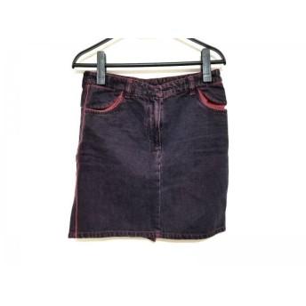 【中古】 エムエムシックス MM6 スカート サイズ42 L レディース パープル レッド デニム