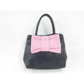 【中古】 プラダ PRADA ハンドバッグ - 黒 ピンク リボン レザー