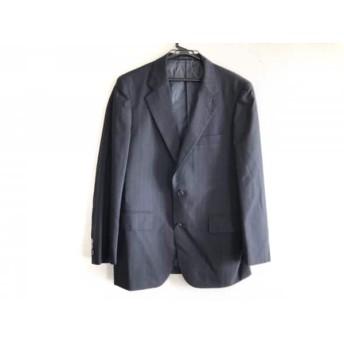 【中古】 ジェイプレス J.PRESS ジャケット サイズ3A メンズ 黒 ダークグレー ストライプ/肩パッド