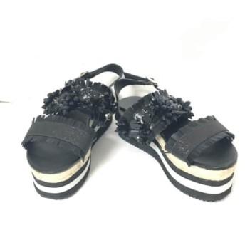 【中古】 チェスティ Chesty サンダル M レディース 黒 ウェッジソール/ビジュー レザー 化学繊維
