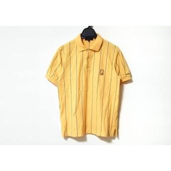 【中古】 パーリーゲイツ PEARLY GATES 半袖ポロシャツ サイズ1 S メンズ オレンジ 黒 白 ストライプ