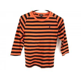 【中古】 ジムフレックス 長袖Tシャツ サイズ12 L レディース 美品 オレンジ ダークネイビー ボーダー