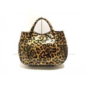 【中古】 ケイトスペード ハンドバッグ 美品 PXRU2040 ライトブラウン 黒 豹柄 エナメル(レザー)