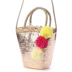 ビバユー VIVAYOU メタリックカラーのポンポン飾りつき2WAYかごバッグ (ゴールド)