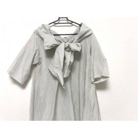 【中古】 エリン ELIN ワンピース サイズ36 S レディース 美品 白 黒 ストライプ/リボン
