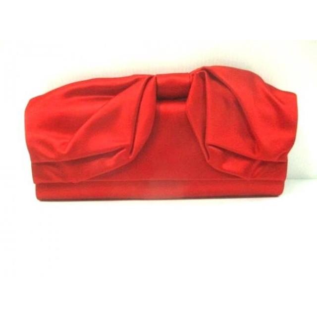 【中古】 バレンチノガラバーニ VALENTINOGARAVANI クラッチバッグ 美品 レッド 赤タグ/リボン サテン